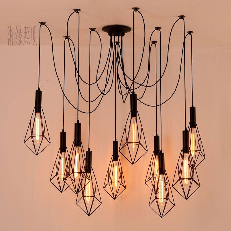 Vintage Spider pendant lights luminaire lamp Loft E27 Industrial Lighting Retro Loft Hanging Suspension Fixtures Home 110V 220V american retro pendant lights luminaire lamp iron industrial vintage led pendant lighting fixtures bar loft restaurant e27 black