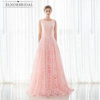 Blush Pink Lace Evening Dress 2017 Modest Scoop Neck Formal Prom Dress A Line Vestido Longo