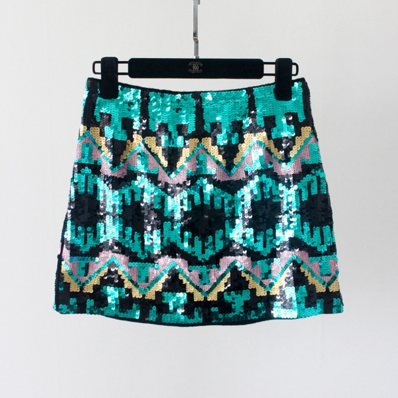 Fashion Ladies Luxury Colorful Geometric Sequins Package Hip Skirt A Line Short Skirt For Women
