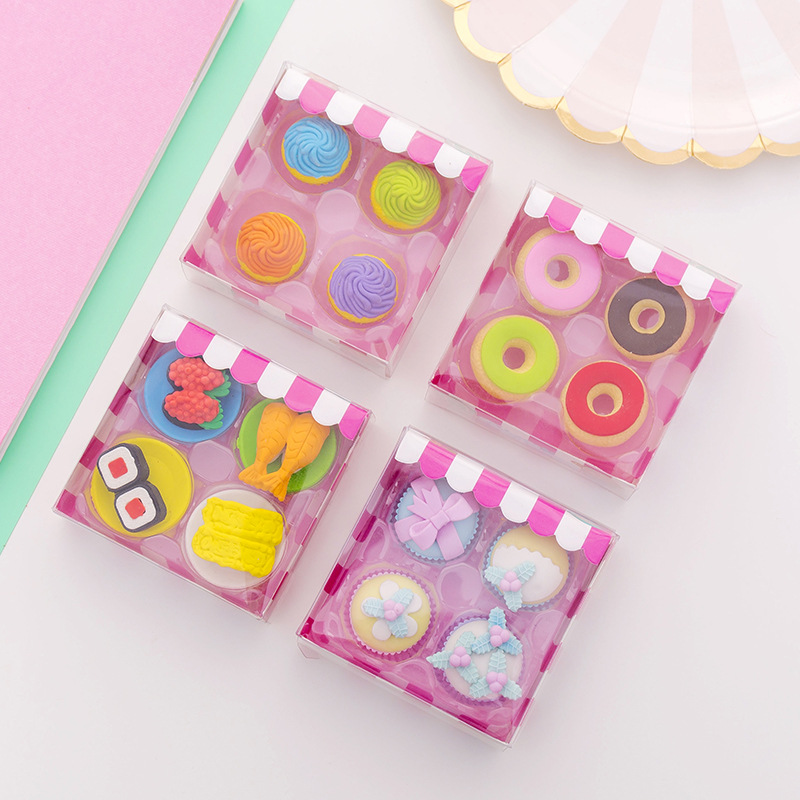 4Pcs/Set Kawaii Cake Sushi Pencil Erasers For Office School Creative Stationery Supplies Kawaii Kid Writing Drawing Student Gift