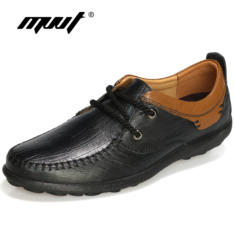 MVVT Top Quality Genuine Leather Shoes Men Casual Shoes Lace-Up Loafers Men Oxford shoes Men Flats Spring/Autumn Foot Wear high quality genuine leather men shoes lace up casual shoes handmade driving shoes flats loafers for men oxfords shoes