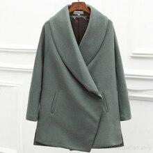 Woman's Thicken Green Cashmere Palto Woolen Maxi Cardigan Down Coat Autumn Long Warm Jacket Manteau Femmee Korean Cloak Winter