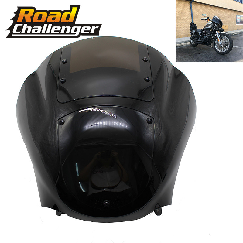 Black Headlight Fairing For Harley Dyna Low Rider Super Wide Glide 1986-2017 Sportster XL 1200 883 Front Headlight Fairing