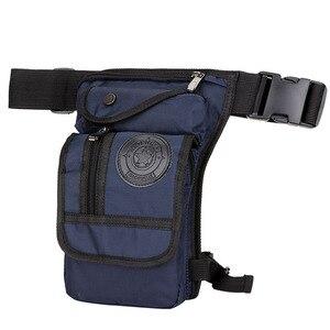 Image 5 - Mens Waterproof Nylon Drop Leg Bag Fanny Pack Waist Belt Thigh Hip Bum Military Motorcycle Riding Black Pouch Pack Packet Bag
