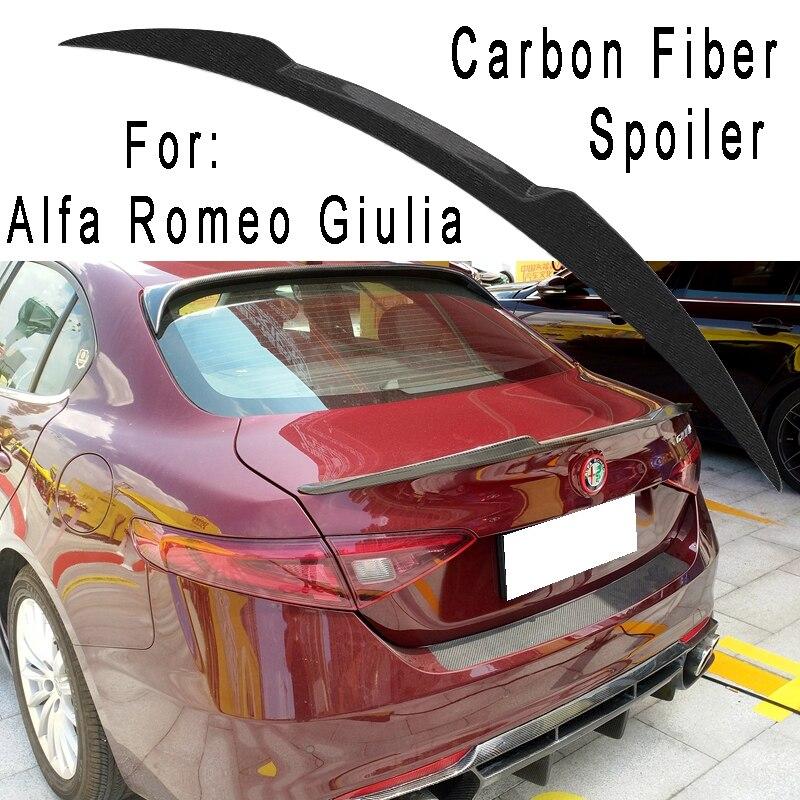 For Alfa Romeo Giulia sedan 2015 2017 Carbon Fiber spoiler high quality carbon fiber rear wing beautification decoration