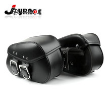 Black Leather Tool Pouches Motorcycle Side Saddle Bags for Harley Davidson Softail Models