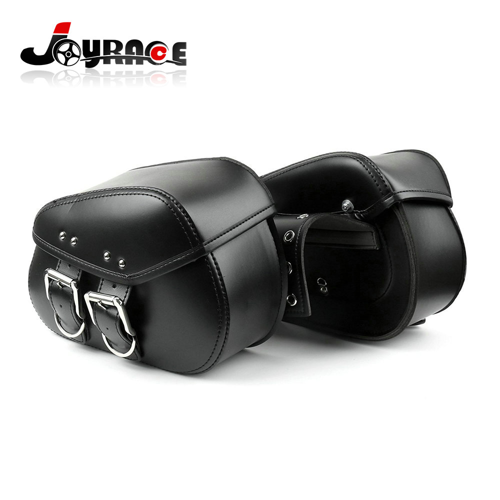 Motorcycle Black Leather Tool Pouches Side Saddle Bags Saddlebag for Harley Davidson Softail Sportster XL883 XL1200
