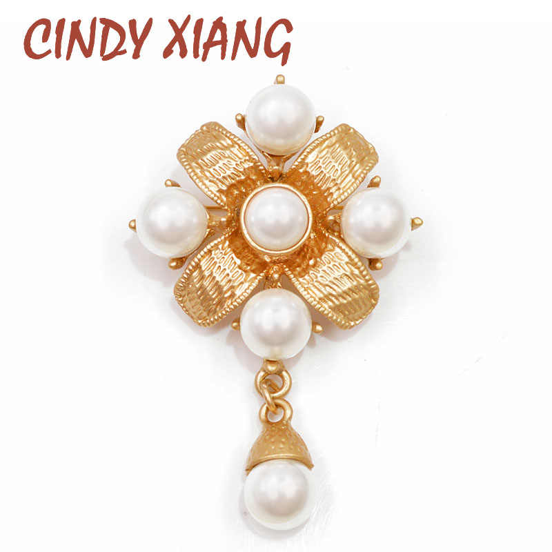 Cindy Xiang Gold Color Metal Cross Bros Mutiara Pin Baroque Gaya Vintage Fashion Perhiasan Antik Elegan Aksesoris Hadiah Yang Bagus