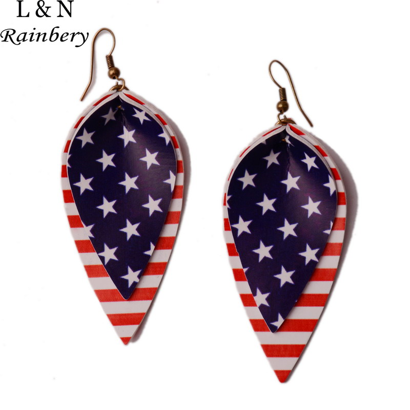 Rainbery American Flag Faux Leather Teardrop <font><b>Earrings</b></font> Petal Leaf <font><b>Earrings</b></font> Bar Faux Leather <font><b>Earrings</b></font> For Independence Day JE0766