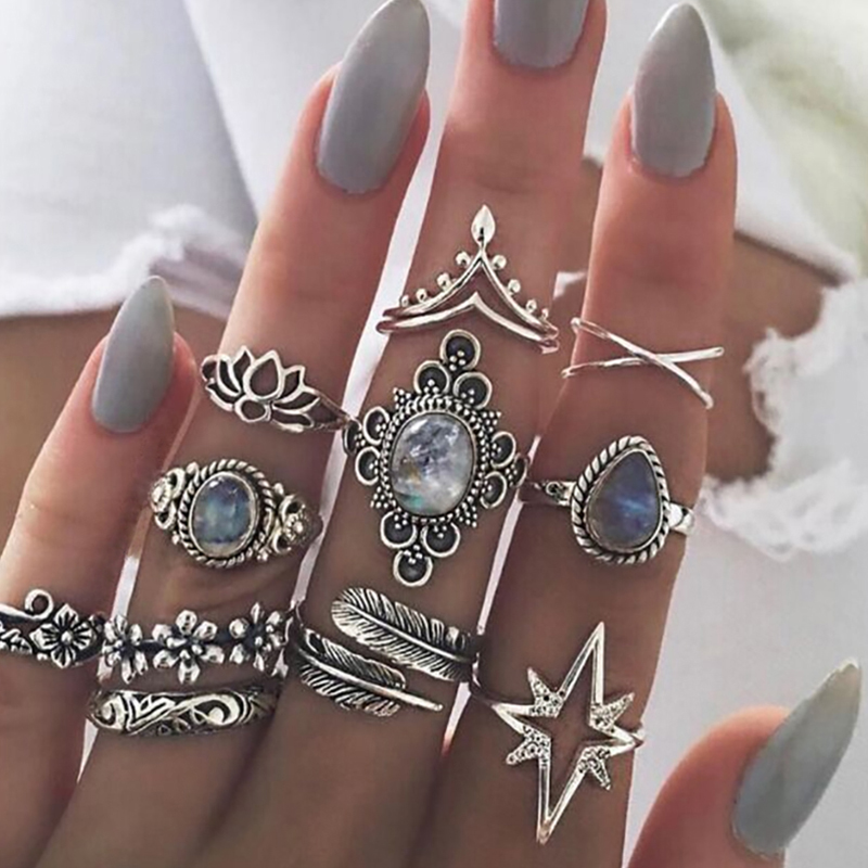 11 Pcs/set Women Boho Carving Flowers Leaves Water Drop Stars Crystals Gem Joint Ring Lady Party Silver Wedding Ring(China)