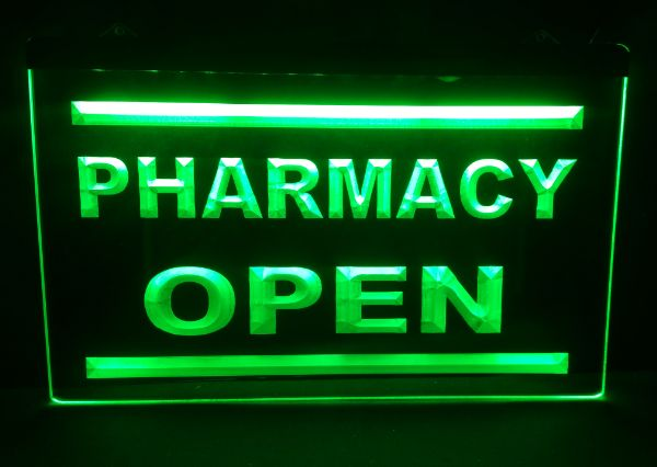 Pharmacy Drug Stores Display OPEN NEW carving signs Bar LED Neon ...