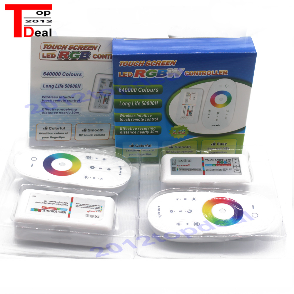 Touch Screen LED RGB / RGBW Controller 2.4G Wireless DC12-24V Touch RF Remote Control For RGB /RGBW LED Strip(China)