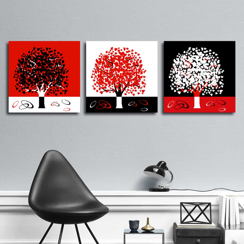 Wall Art 3 Panel Modern Printed Tree Picture Canvas Painting Black White Red Wall Decor Canvas Larger Poster Abstract Landscape Painting Calligraphy Aliexpress