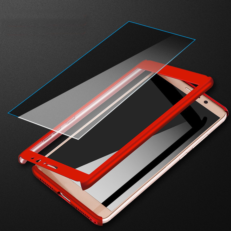 3-In-1 Plastic Case + Glass Full Cover 360 For Xiaomi Redmi Note 5 Pro Cover Redmi Note 5A Prime Case +Tempered Glass Gift