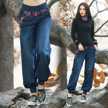 Этнические джинсы, женские осенние весенние богемные хиппи, оригинальные длинные джинсовые широкие брюки с вышивкой, китайская одежда