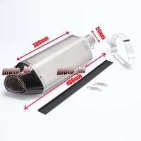 51mm Muffler Exhaust Pipe Stainess Steel Body Carbon Fibre End Total 480mm Long Universal
