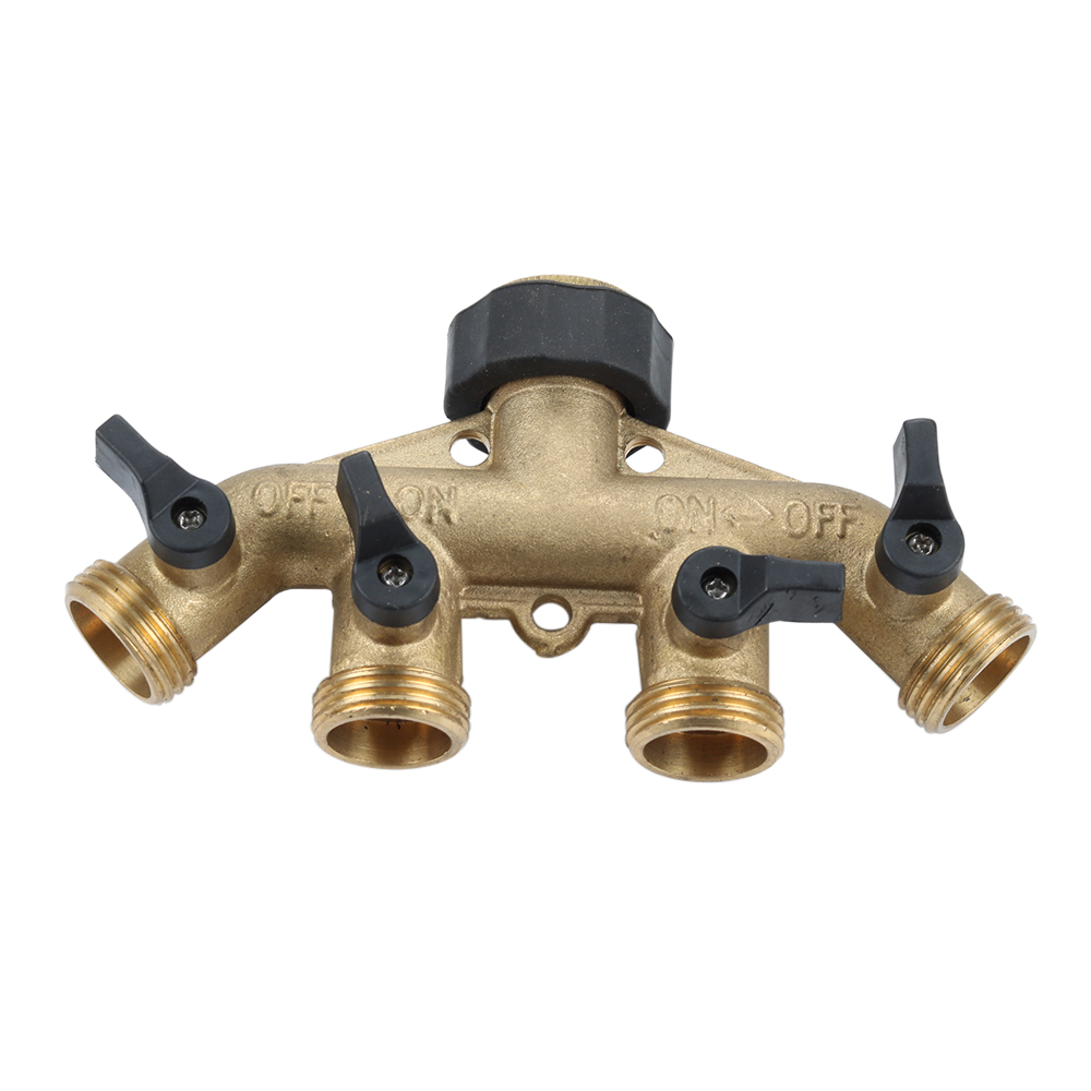 Brass Garden Hose Pipe Splitter 4 Way Tap Connectors 3/4'' Hose Pipe Connector for Garden Irrigation Watering System garden hose connector with hoses washer 4 way heavy duty hose tap splitter shut off knobs faucet for irrigation lawns