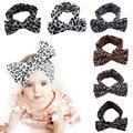 2017 Crianças Meninas Leopard Bow Elastic Headband faixa de cabelo Meninas Do Bebê Tule Mantilha Flor Acessórios de Cabelo Infantil Headwear