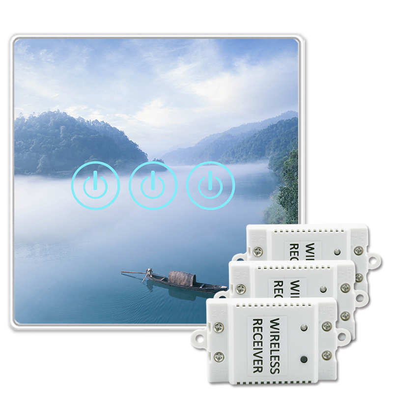 Saful Wall Switch 150M Remote Control 433MHz 3 Gang 3 Way Crystal Glass Panels Capacitive Lighting Home On/Off Touch Switch