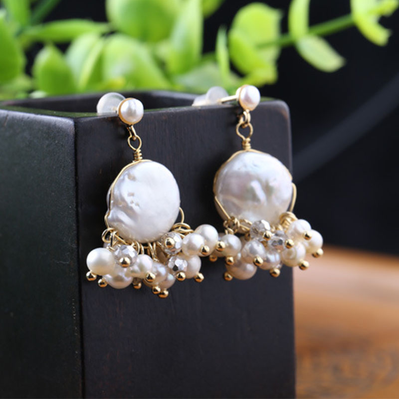 Lanseis Charm Leave Exquisite Big Pearl Earrings, 1Pcs Unique Party, Wedding, Spring Style, Design Handmade Jewelry For Women