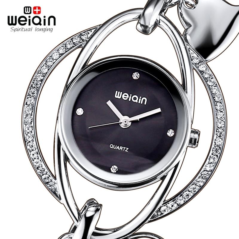 WEIQIN Crystal Silver Bangle Watch Women Heart Pendant Bracelet Watches Ladies Fashion Rhinestone Analog Quartz watch