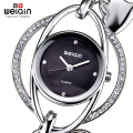 WEIQIN Crystal Silver Bangle Watch Women Heart Pendant Bracelet Watches Ladies Fashion Rhinestone Analog Quartz-watch relojes