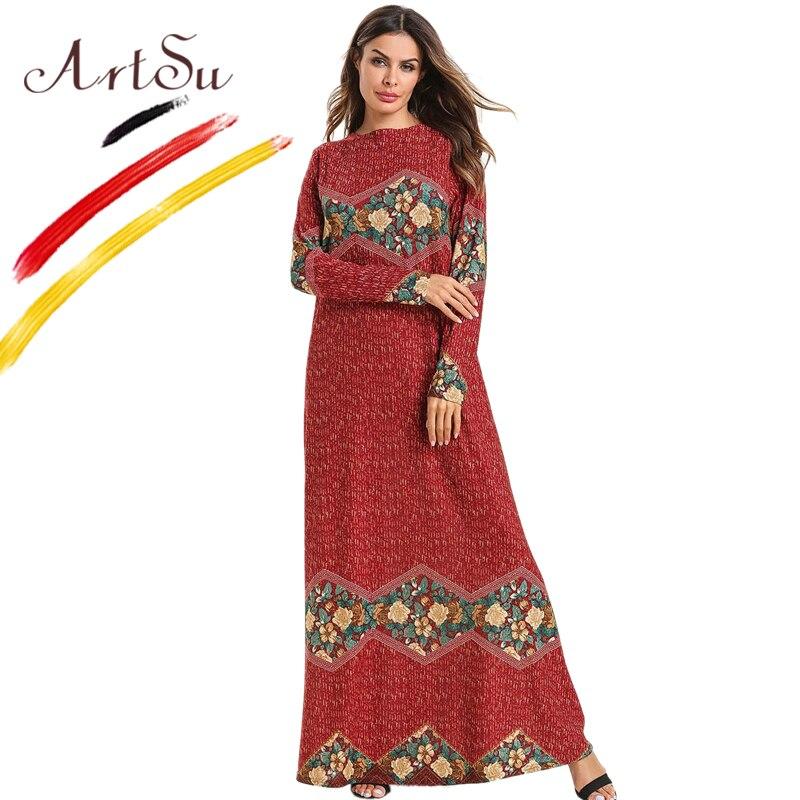 ArtSu 2019 New Women Muslim Kaftan Dress Round Neck Long Sleeve Retro Ethnic Floral Print Maxi Dress Casual Loose Long Red Dress