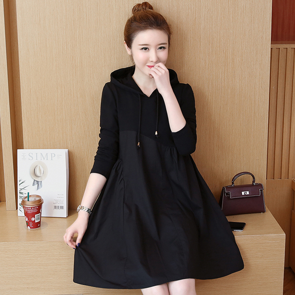 Spring and summer new style Mid-length stitching hooded dress Fall fashion new large size dress stitching 28