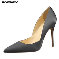 TINGHON Brand Women Pumps Elegant Satin Shoes Green Heels Sexy High Heels Pumps Scarpin Sapatos Femininos
