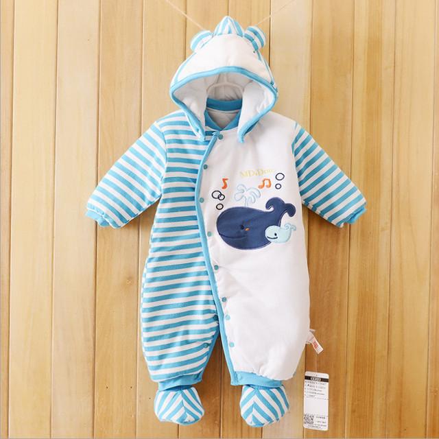 Menina Roupa do bebê do bebê recém-nascido de algodão one piece-com capuz grosso quente no outono e roupas de inverno romper do bebê animais estilo Totoro