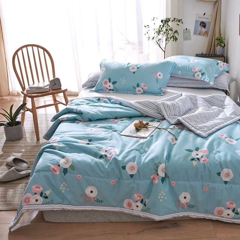 Floral Printed Summer Bedding Comforter Sets Cotton Quilt Pillowcase 2/3 PC Home Bed linens Mechanical Wash