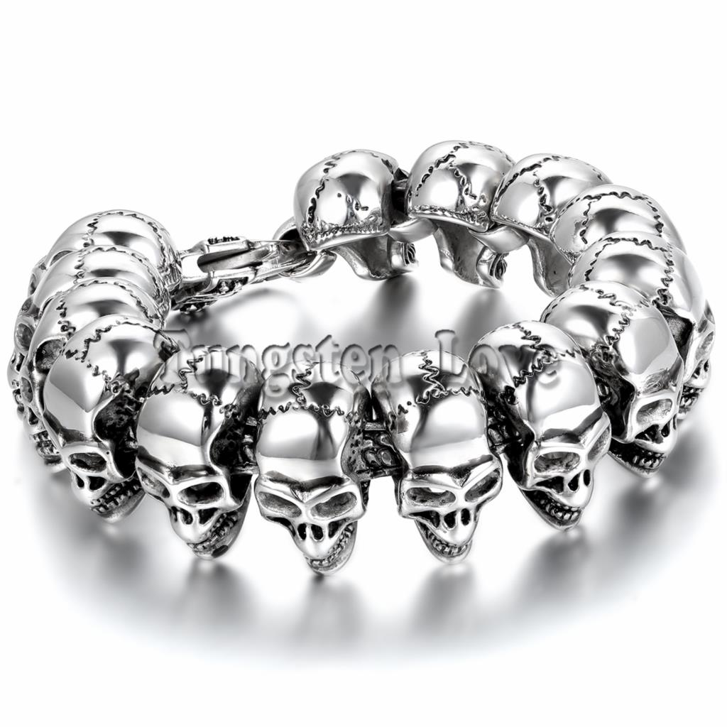 21.5cm Punk Large Gothic Skull Biker Stainless Steel Bracelet mens bracelets 2015 New arrived pulseira masculina Silver Color цена 2017