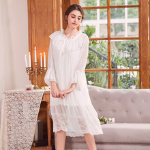 Retro Women Long Sleeve Nightgown Lace Nightdress Palace Princess Sleeping Dress Sleepshirts Modal Home