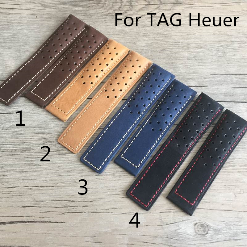 20mm 22mm 24mm Genuine Leather Watch Strap Watchband For TAG With Heuer Logo Without Buckle Clasp d 32 fashion purple red fish skin leather watch strap 24 22mm watchband with buckle