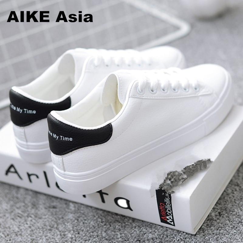 HOT Women Sneakers 2019 Fashion Breathble Vulcanized Shoes Women Pu leather Platform Shoes Women Lace up Casual Shoes White