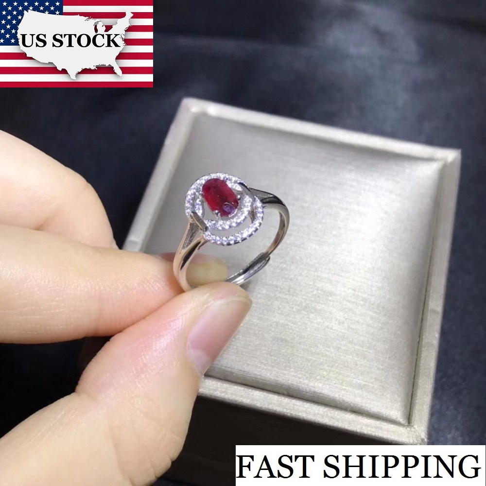 USA STOCK Uloveido Natural Ruby Ring, 925 Sterling Silver Oval Cut Gemstone Promise Rings with Certificate Gift Box 20% FJ326
