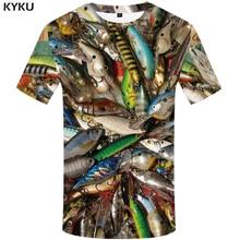 KYKU Fish 3d T Shirt Men Hip Hop Tshirt Fisherman Tropical Print T-shirt Funny Shirts Summer Fishinger Animal Mens Clothing
