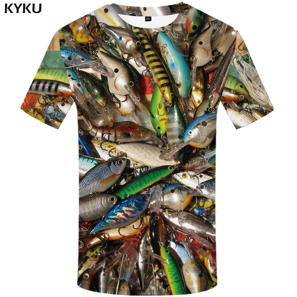 KYKU Fish 3d T Shirt Men Hip Hop Tshirt Fisherman Tropical Print T-shirt Funny T Shirts Summer Fishinger Animal Mens Clothing
