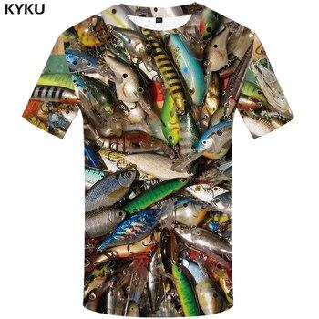 цена на KYKU Fish 3d T Shirt Men Hip Hop Tshirt Fisherman Tropical Print T-shirt Funny T Shirts Summer Fishinger Animal Mens Clothing