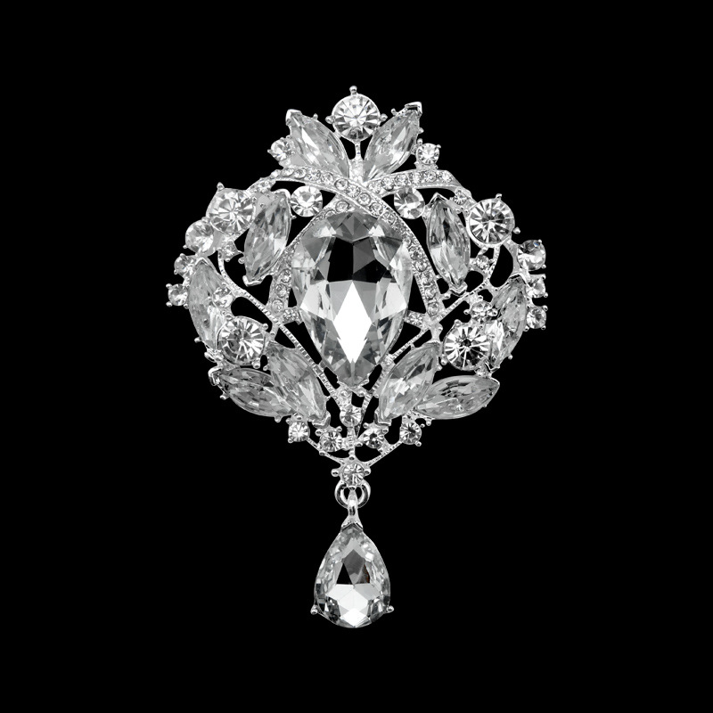 High-Grade Bride Brooch European Fashion Flower  Water Droplets Brooch Hollow Shiny Full  Brooch Can Be Customized
