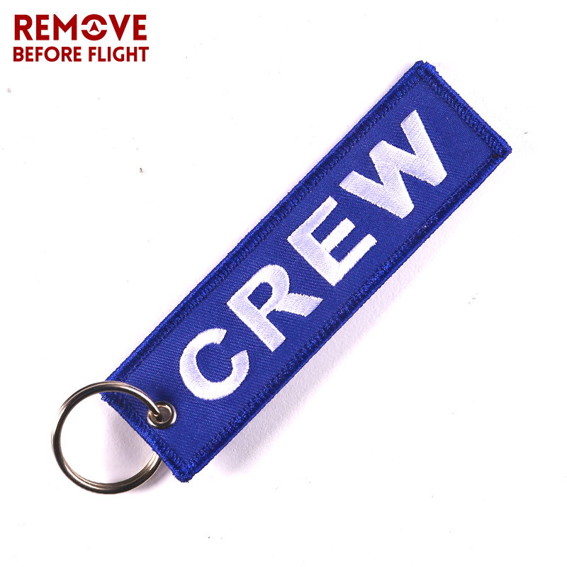 New Crew Car Key Chain Blue OEM Motorcycle Fabric Embroidery Key Ring Holder Chains llaveros Luggage Tag Aviation Gifts Jewelry