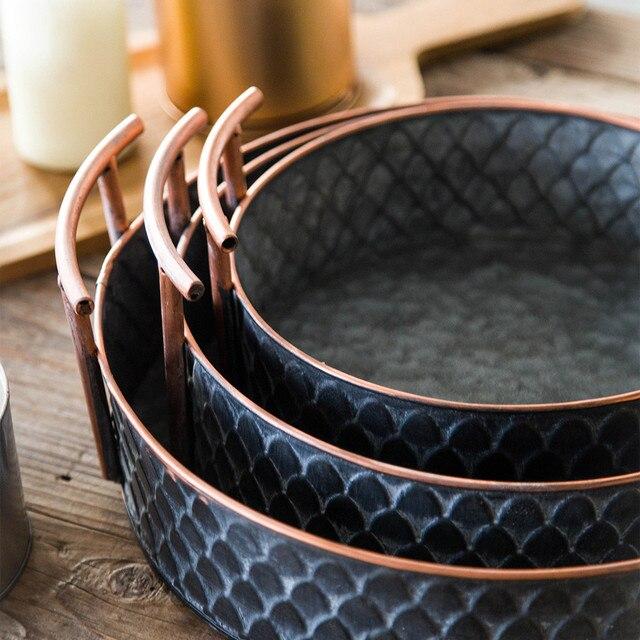 Scandinavian Metal Storage Basket with Handles Iron Vintage Elegant Luxury Desk Storage Organizer Decor Fruit Basket for Home 3