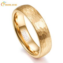 Gold Color Geometric Figure 4 & 6mm Width Men Women Rings Tungsten Carbide Couple Gift Anillos Wedding Bands