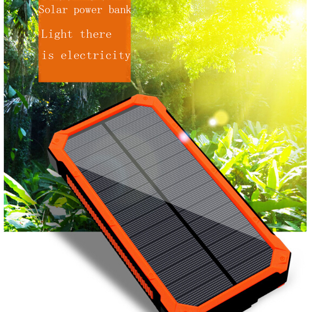 Solar power bank 10000mAh portable phone battery with LED lighting solar charger for all mobile phone ipad electronic devices