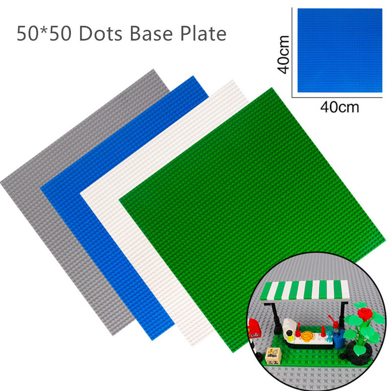 4PCS/lot 50*50 Dots LegoINGs City Base Plate for Small Bricks 40*40 CM Baseplate Board DIY Building Blocks Wall Sets Kids Toys 2017 brand new fashion big size 40 40cm blocks diy baseplate with 50 50 dots small bricks base plate green grey blue