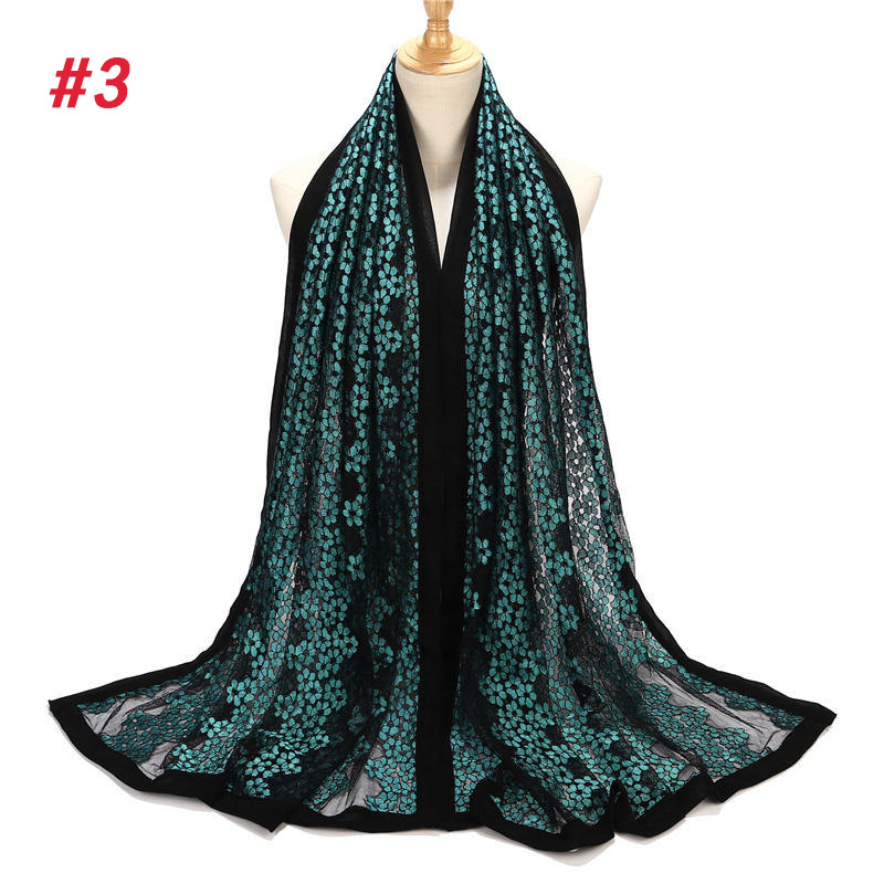 1 pc Designer Scarf Style Hijabs Black Bubble Chiffon Edges Hollow Out Lace Muslim Hijab Scarf For Beach Shawls in Women 39 s Scarves from Apparel Accessories