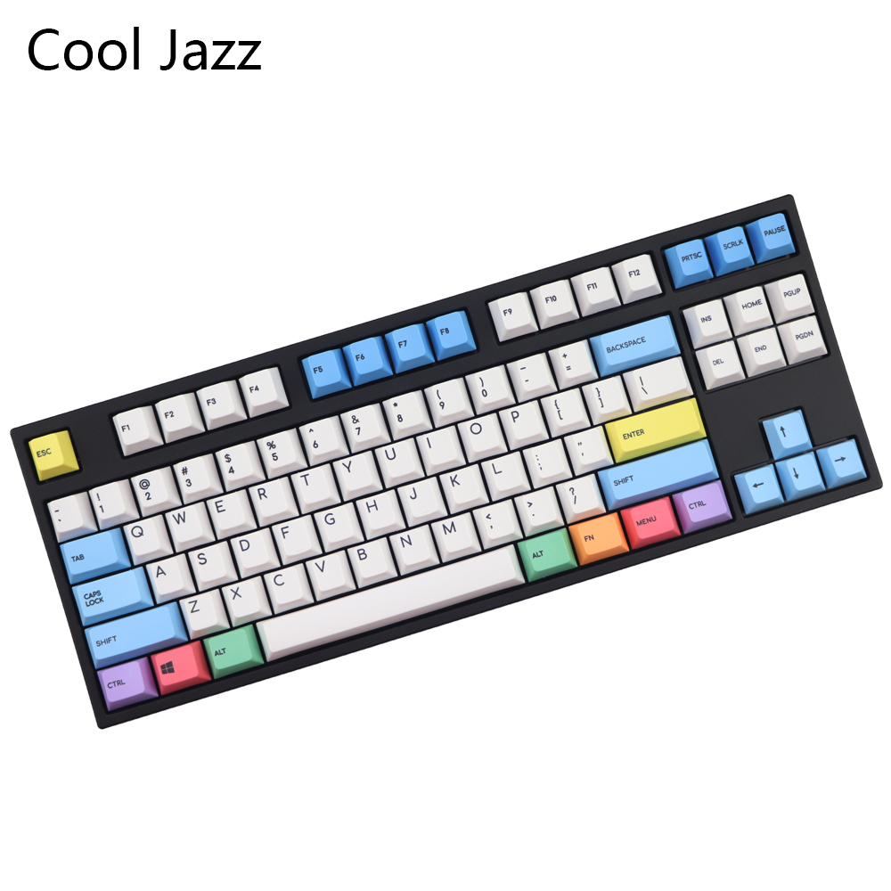 Cool Jazz 123 Key Pbt Cherry Mx Mechanical Keyboard Keycaps Dye Subbed Cherry Profile 1.75shift Chalk Sleeve Keycap