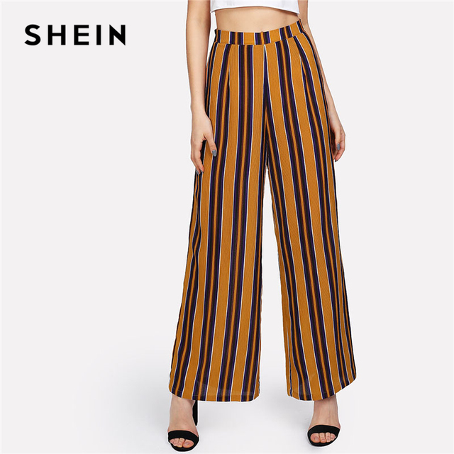 70450a32d9de € 22.65  SHEIN Zip Up pierna ancha pantalones rayados mujeres moda nueva  ropa Mediados de cintura suelta pantalones 2018 mujer elegante longitud ...