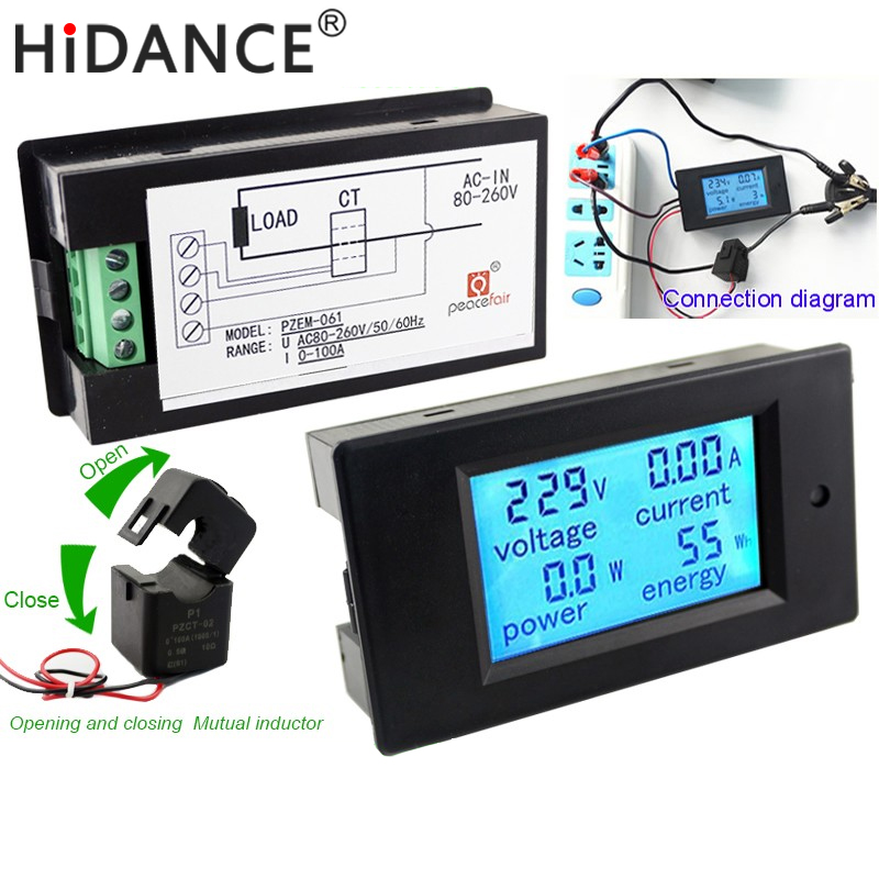 AC Digital Voltmeter Voltage Meters 80~260V/100A Power Energy Analog  Ammeter Watt Current Amps Volt Meter LCD Panel Monitor