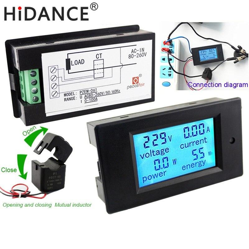 Medidores de Voltaje Digital AC Voltímetro 100A/80 ~ 260 V vatios Power Energy Amperímetro analógico actual del metro de Voltio Amperios Panel LCD Monitor